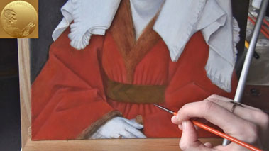 How to Paint Using the Flemish Method - How to Paint a Drapery Over a Grisaille Underpainting - Glazing Layers
