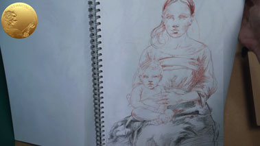 Madonna and Child - Preparatory Sketches and  Underdrawing with a Brush