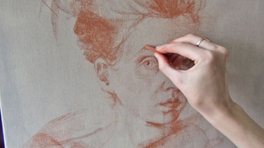 How to Draw a Portrait in Sanguine on Canvas - Sanguine Drawing Techniques