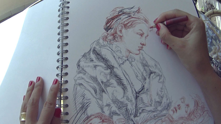 Allegory of Painting - Underdrawing with a Brush