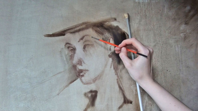Figurative Painting with Gestural Brushwork - Brown Underlayer in Oil Portrait Painting