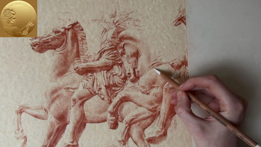 How to Draw in Sanguine on Toned Paper - Chalk Highlights on Toned Paper