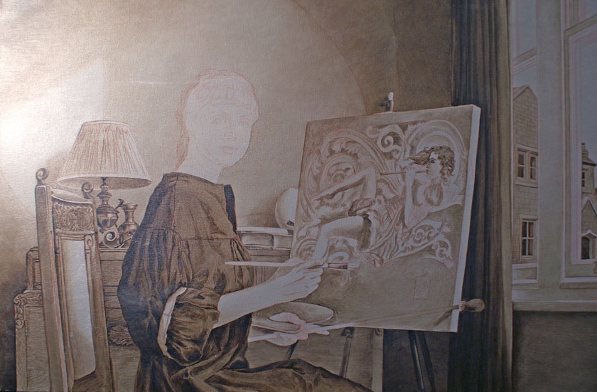 Figure with a still-life in Oils - Grisaille Underpainting Technique