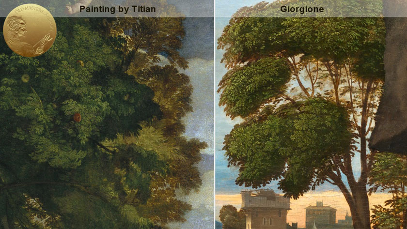How Titian Depicted Green Flora. What Colors he Used for Painting Trees