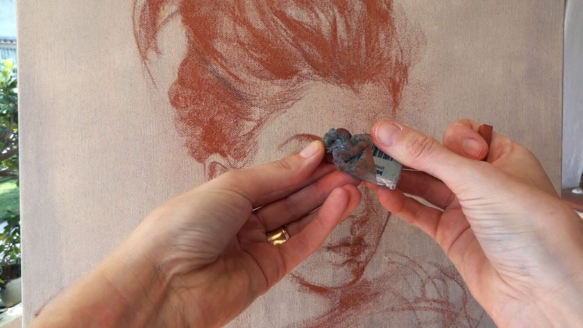 How to Draw a Portrait in Sanguine on Canvas - How to Draw a Portrait with Sanguine Sticks