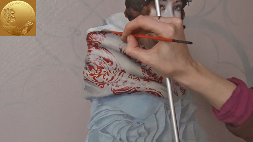 How to Paint a Girl Portrait - How to Paint Patterned Drapery in Oils