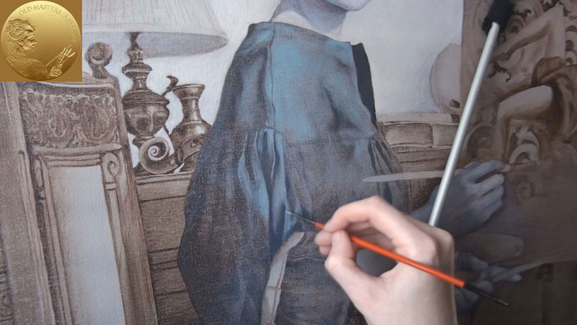 Figure with a still-life in Oils - How to Paint a Drapery Over a Dead Color Underpainting