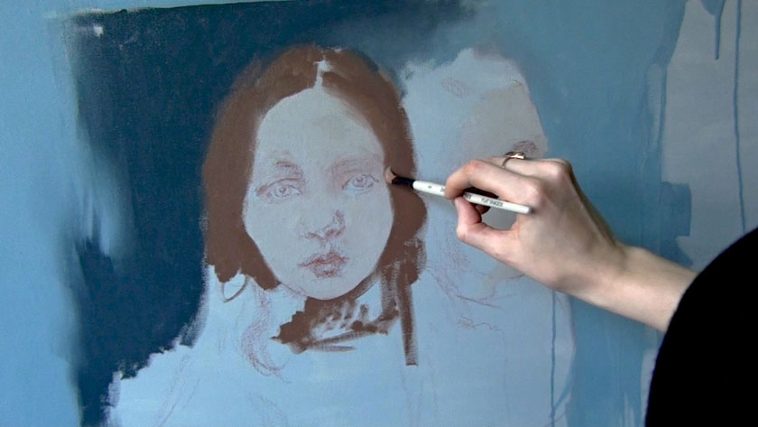 How to Paint Simple Figures in Oil - How to Start a Female Portrait Over an Underdrawing