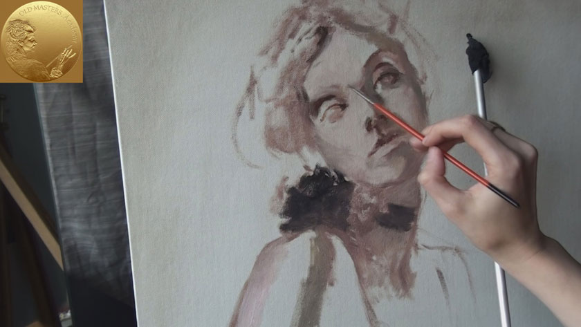 How to Paint a Self Portrait Using a Mirror - How to Start a Portrait Painting with a Brush Sketch
