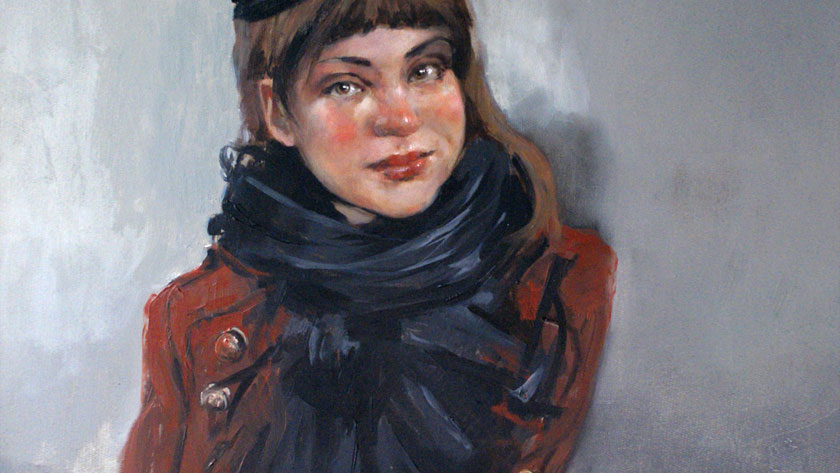 How to Paint a Woman Portrait - Oil Painting Sketch with Brown Paint