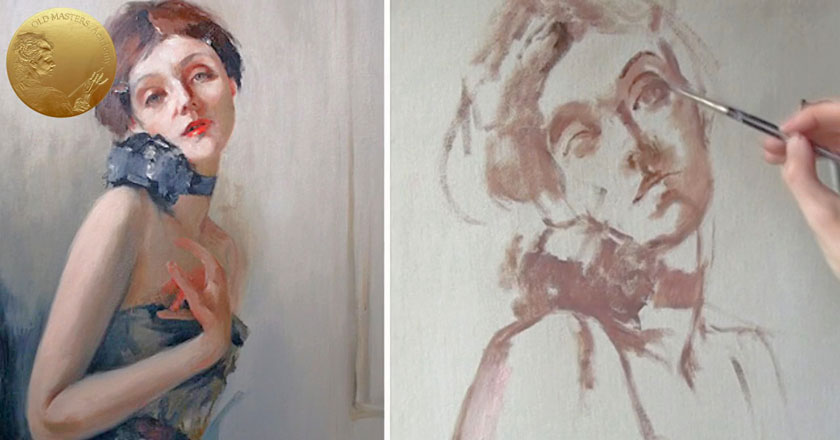 Underpainting - Brush Sketch Before Oil Painting