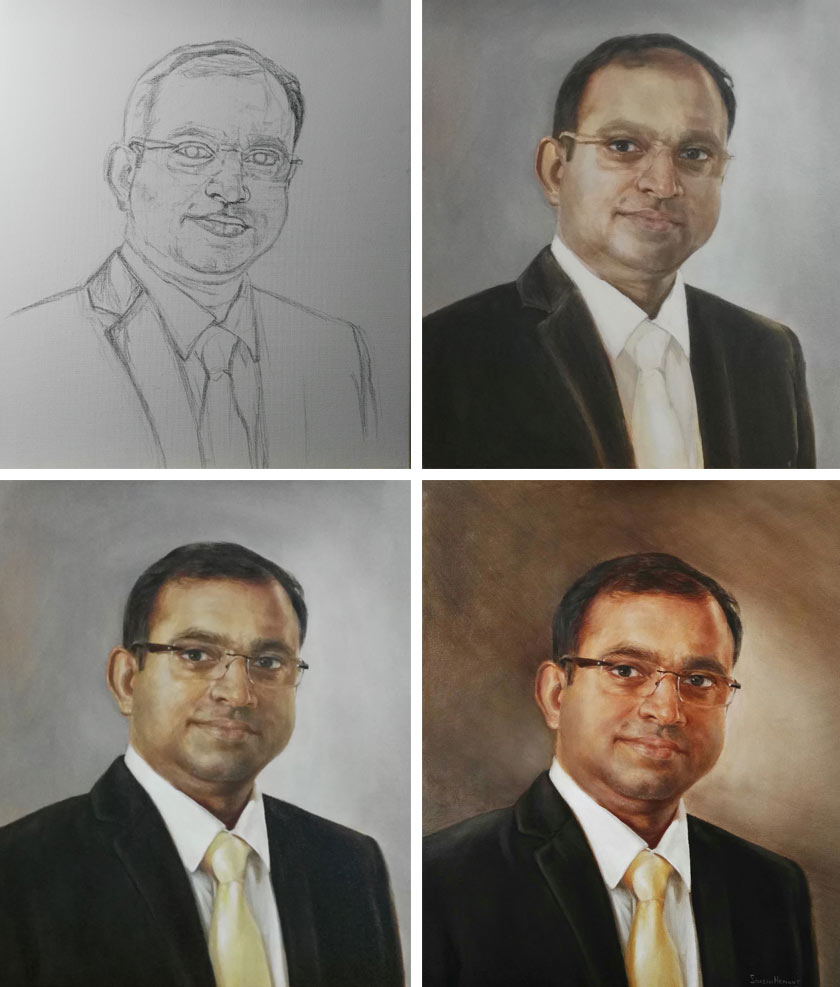 Steps of portrait painting