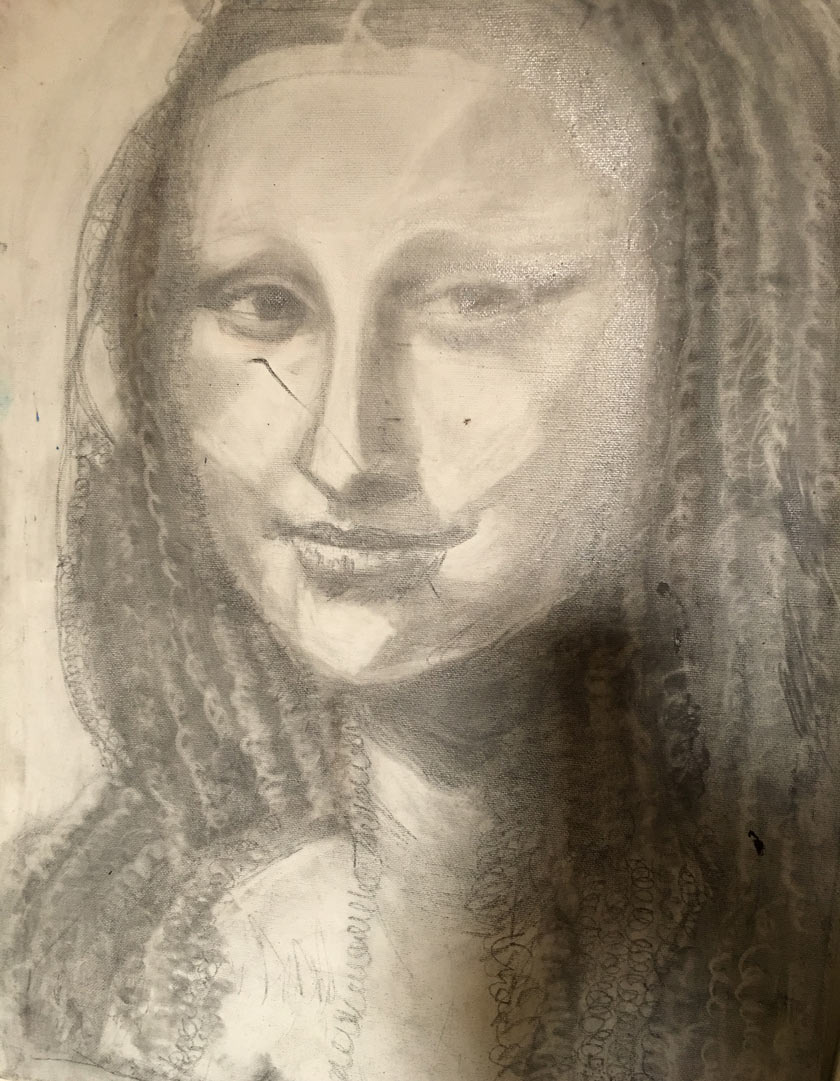 So one night I drew a Mona Lisa portrait Artwork by Deborahe G. Squires art