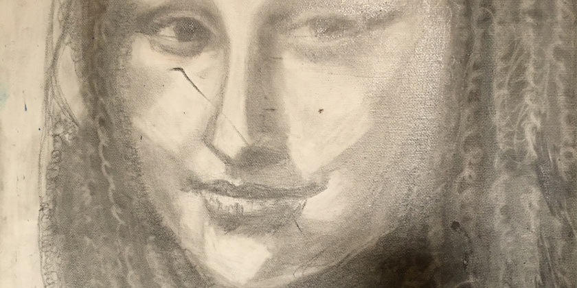 So one night I drew a Mona Lisa portrait drawings by Deborahe G. Squires artist