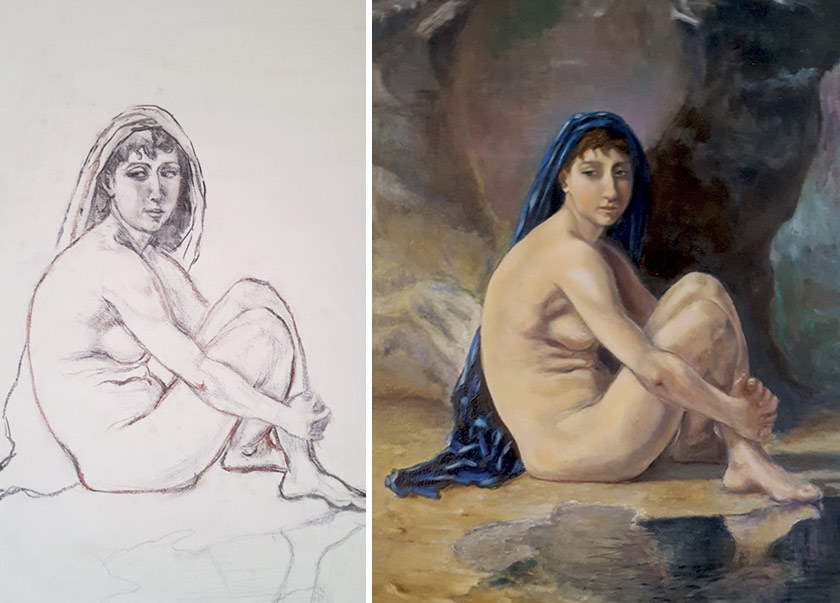 Painting process of Gilberto Mello, Old Masters Academy student