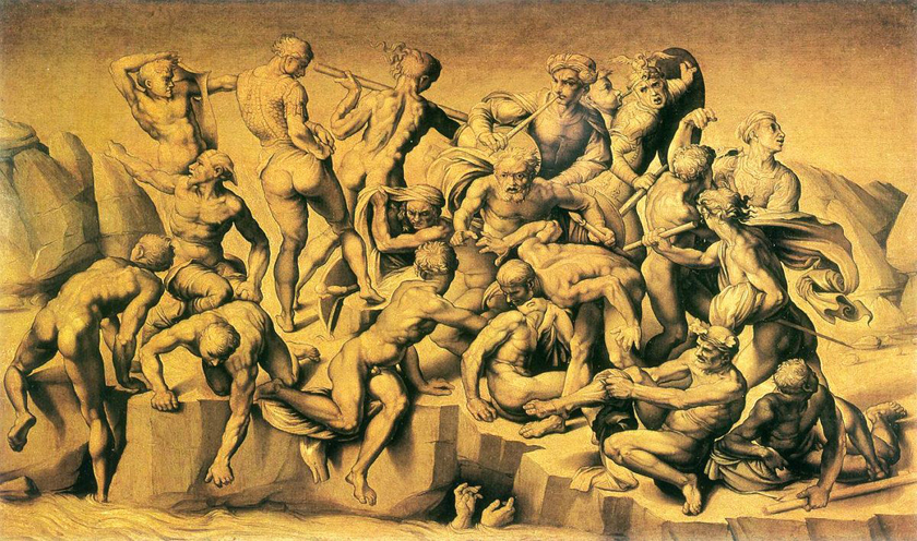 Rivalry between Raphael, Leonardo and Michelangelo battle-of-cascina